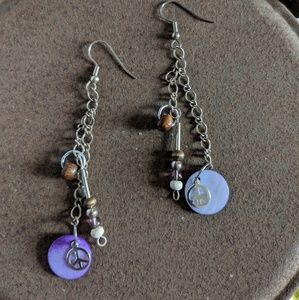 Silver and Purple Ear Rings